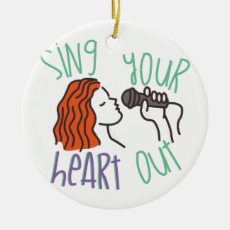 Sing & Heart Out Round Ceramic Decoration