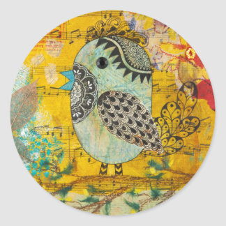 SING Mixed Media Collage Round Sticker