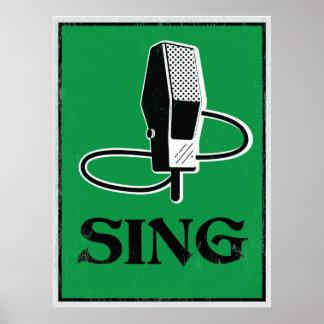 Sing: Retro Microphone Art Poster