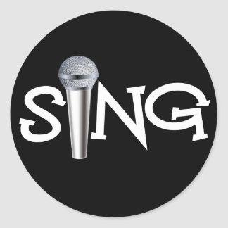 Sing with Microphone Classic Round Sticker