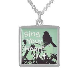 Sing Your Heart Out Bird Sterling Silver Necklace