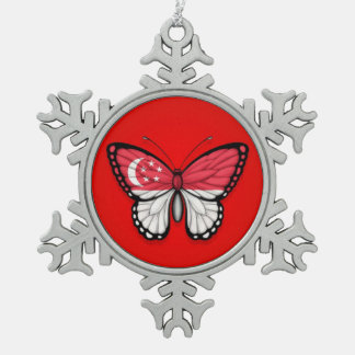 Singapore Butterfly Flag on Red Snowflake Pewter Christmas Ornament