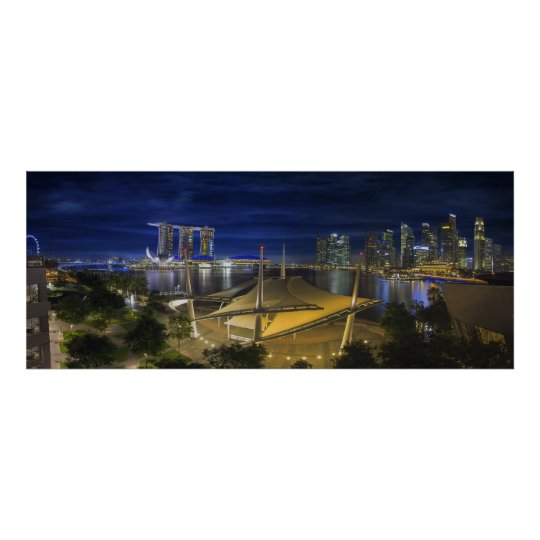 Singapore Central Business District Skyline Night Poster