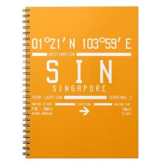 Singapore Changi Airport Letter Code Spiral Notebooks