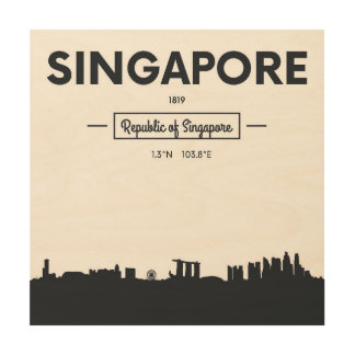 Singapore, China | City Coordinates Wood Print
