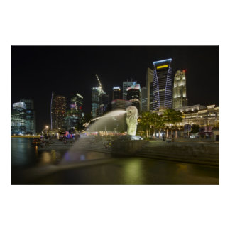 Singapore Cityscape along River at Night Poster