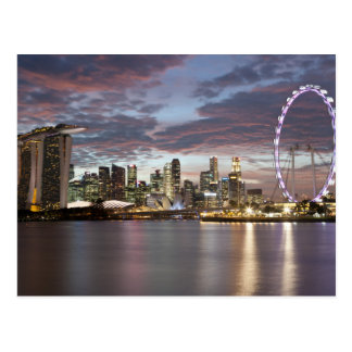 Singapore cityscape at sunset postcard