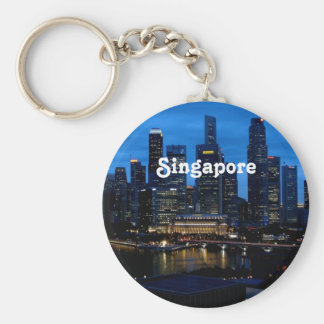 Singapore Cityscape Basic Round Button Key Ring