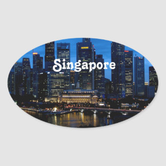 Singapore Cityscape Oval Sticker