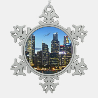 Singapore cityscape pewter snowflake decoration