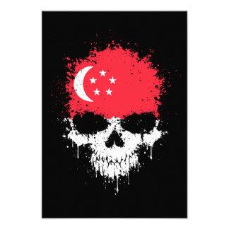 Singapore Dripping Splatter Skull Custom Invitations