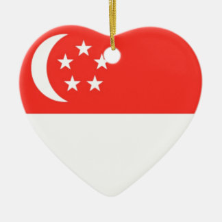 Singapore Flag Ceramic Heart Decoration
