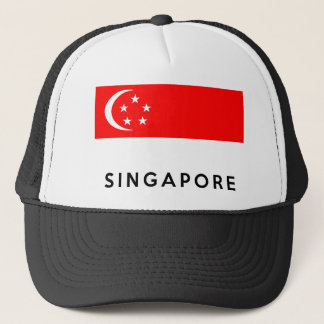 singapore flag country text name trucker hat