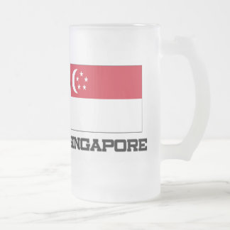 Singapore Flag Frosted Glass Beer Mug