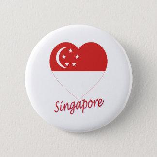 Singapore Flag Heart 6 Cm Round Badge