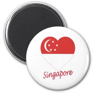 Singapore Flag Heart 6 Cm Round Magnet