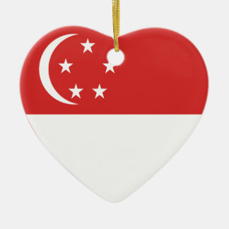 Singapore Flag Heart Christmas Ornament