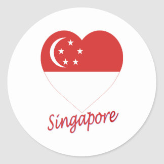 Singapore Flag Heart Classic Round Sticker