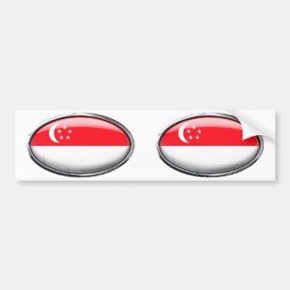 Singapore Flag in Glass Oval Bumper Sticker