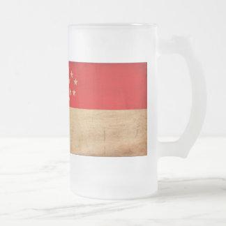 Singapore Flag Frosted Glass Mug