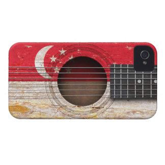 Singapore Flag on Old Acoustic Guitar iPhone4 Case