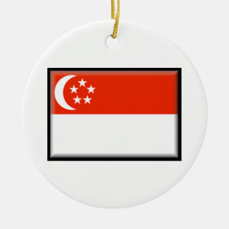 Singapore Flag Round Ceramic Decoration