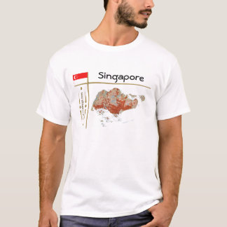Singapore Map + Flag + Title T-Shirt
