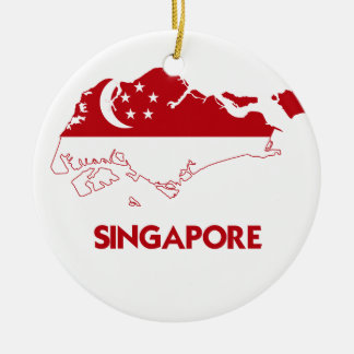 SINGAPORE MAP ROUND CERAMIC DECORATION