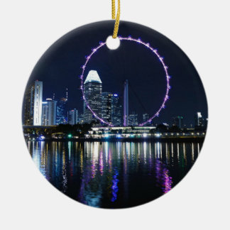 Singapore night skyline christmas ornament