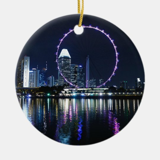 Singapore night skyline christmas ornament