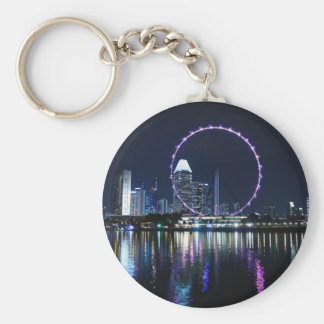 Singapore night skyline key ring