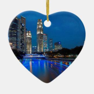 Singapore River Cruise Ceramic Heart Decoration
