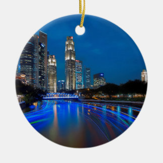 Singapore River Cruise Round Ceramic Decoration
