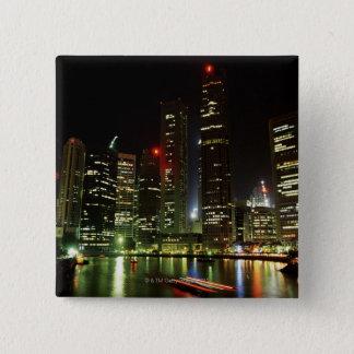 Singapore skyline at night 15 cm square badge