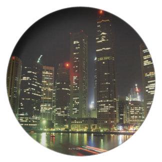 Singapore skyline at night plate