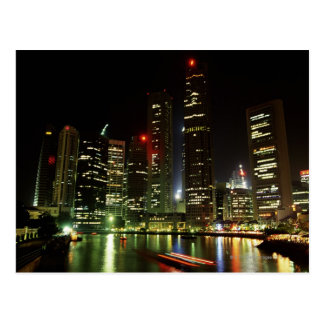 Singapore skyline at night postcard