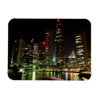 Singapore skyline at night rectangular photo magnet