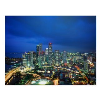Singapore Skyline at night, Singapore Postcard