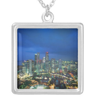 Singapore Skyline at night, Singapore Silver Plated Necklace