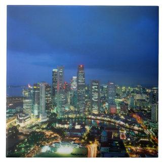 Singapore Skyline at night, Singapore Tile