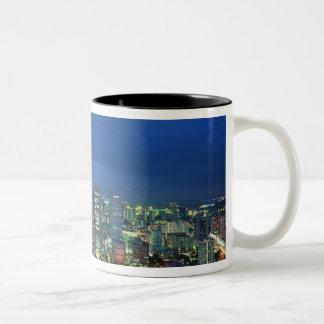 Singapore Skyline at night, Singapore Two-Tone Coffee Mug