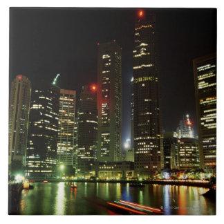 Singapore skyline at night tile