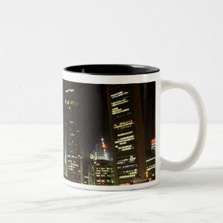 Singapore skyline at night Two-Tone coffee mug