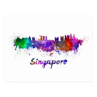 Singapore skyline in watercolor postcard