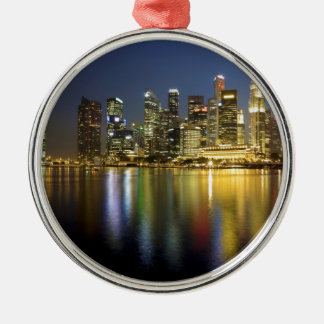 Singapore skyline Silver-Colored round decoration