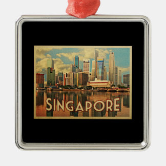 Singapore Skyline Silver-Colored Square Decoration