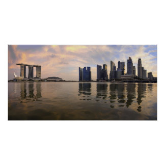 Singapore Skyline Sunset Poster