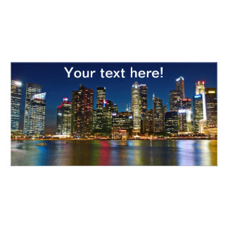 Singapore skyscrapers at night photo greeting card