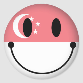 Singapore Smiley Classic Round Sticker