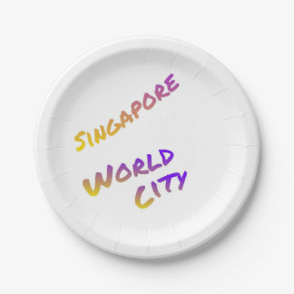 Singapore world city,  colorful text art paper plate